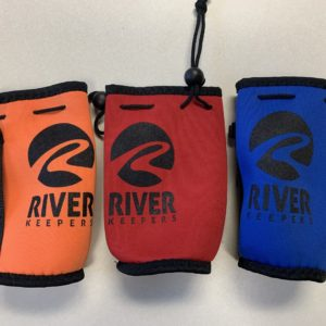 orange, red, and blue water bottle koozies