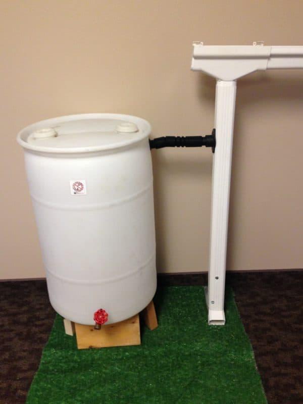 white rain barrel