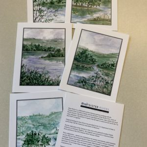 six watercolor sister river notecards