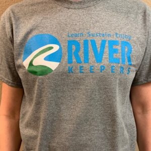 new river keepers logo t-shirt with slogan learn, sustain, enjoy