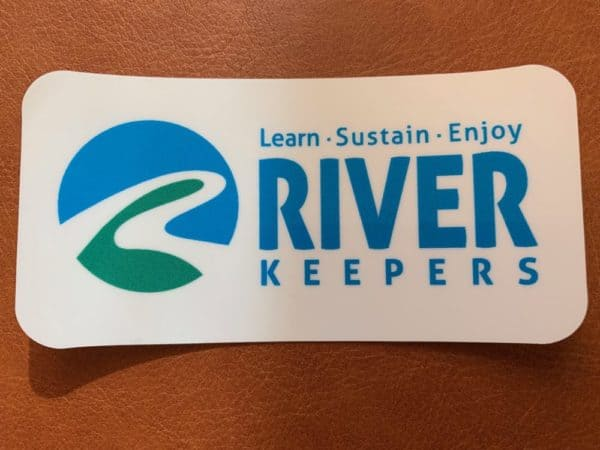 new river keeper keepers window cling with slogan: learn, sustain, enjoy