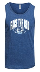 blue tank top with race the red logo